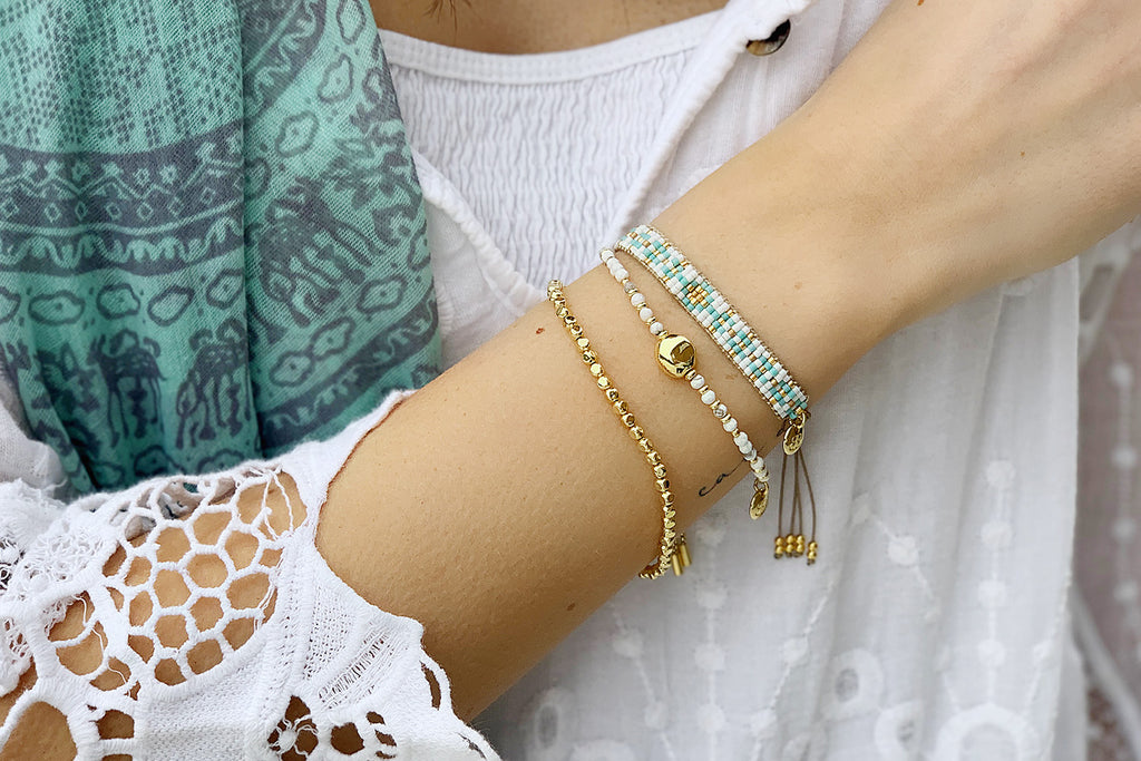 Sendai 3 White and Gold Layered Bracelet Stack - Boho Betty