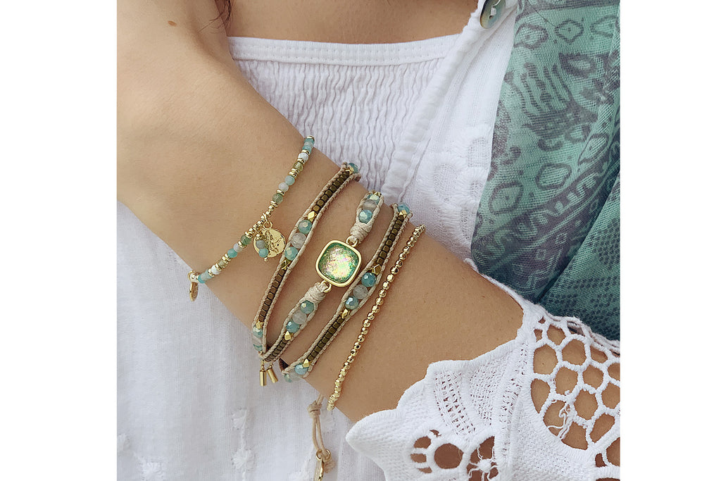 Salsberg Aqua & Gold 3 Layered Bracelet Stack - Boho Betty