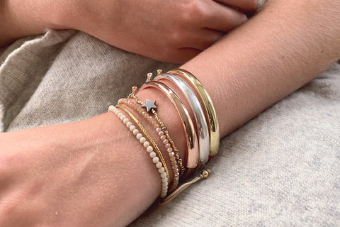 Musca 2 Layered Taupe Bracelet Stack