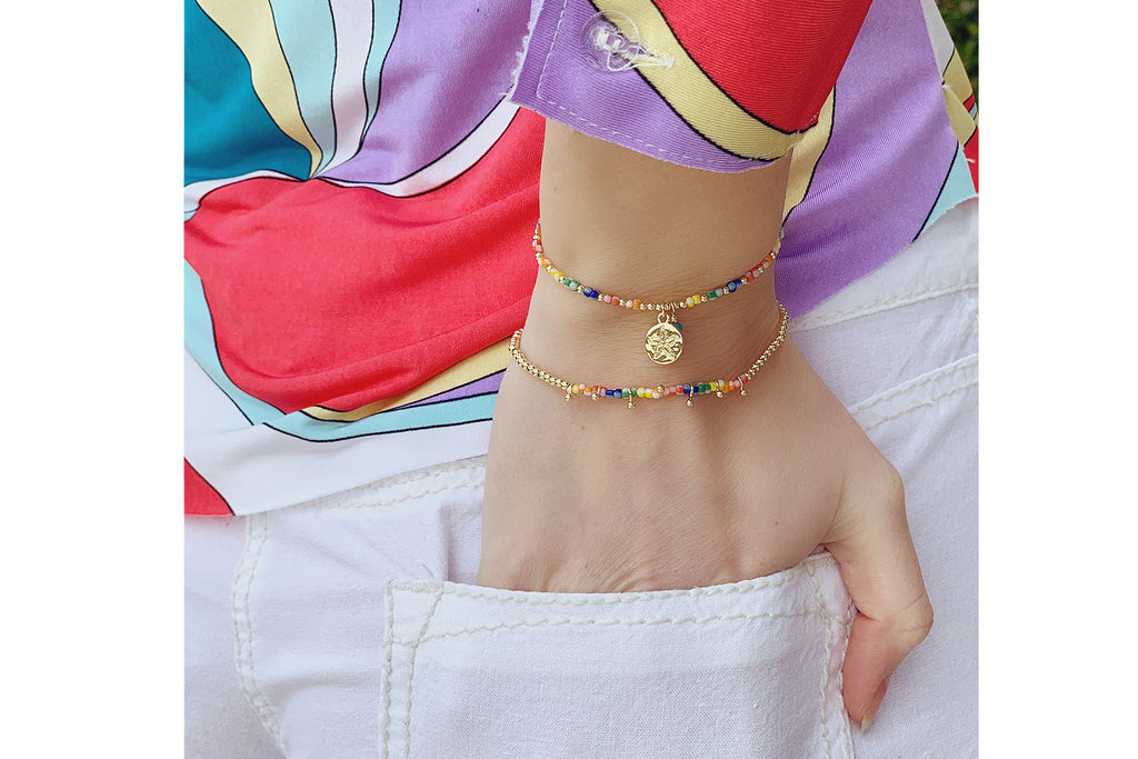 Kumasi 2 Layered Multicolour Bracelet Stack - Boho Betty