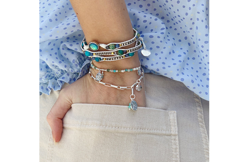 Algiers 3 Layered Silver and Blue Bracelet Stack - Boho Betty