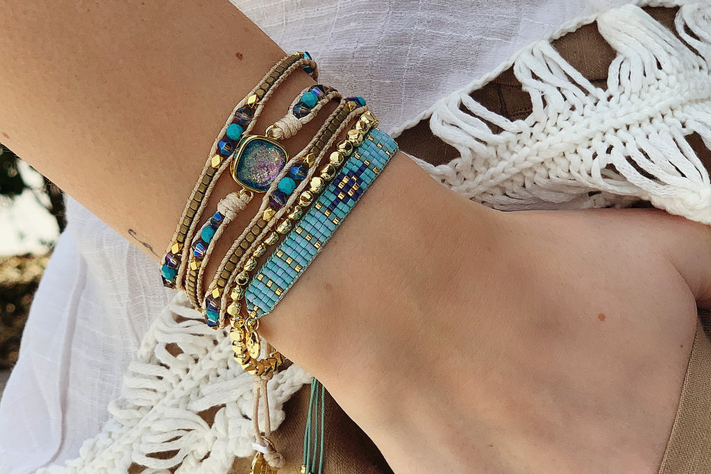 Surat Gold 3 Layered Bracelet Stack - Boho Betty