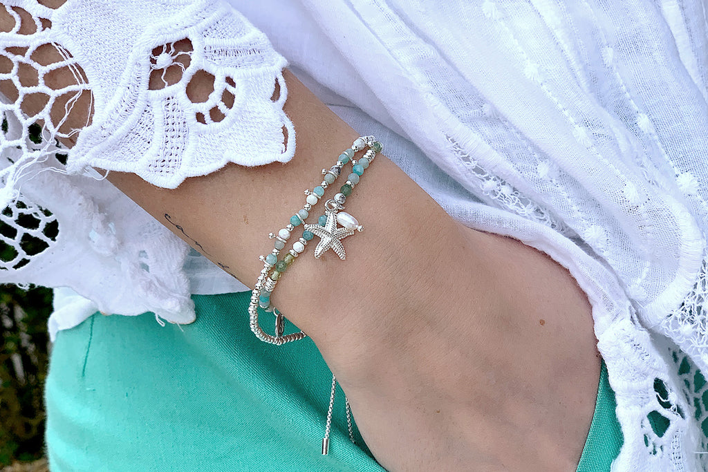 Nadi 2 Silver and Blue Layered Bracelet Stack - Boho Betty