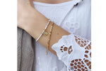 Agadir 2 White & Gold Layered Bracelet Stack - Boho Betty