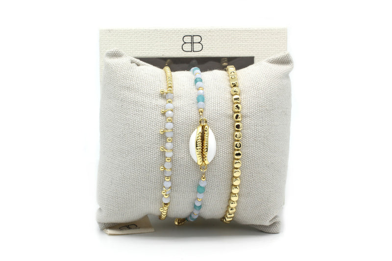 Bodrum 3 Layered Pale Blue Bracelet Stack - Boho Betty