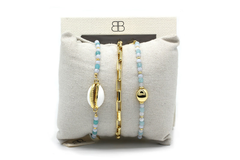 Cannes 3 Layered Pale Blue Bracelet Stack - Boho Betty