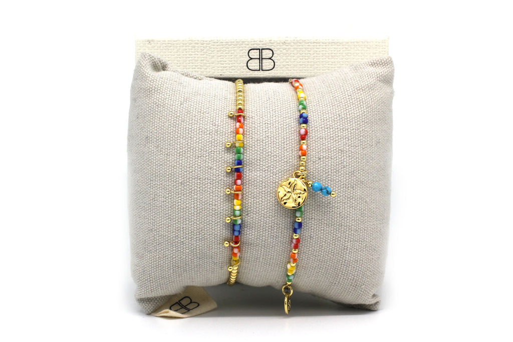 Kumasi 2 Layered Multi colouredBracelet Stack - Boho Betty