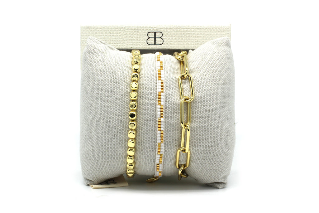 Batam Gold 3 Layered Bracelet Stack - Boho Betty