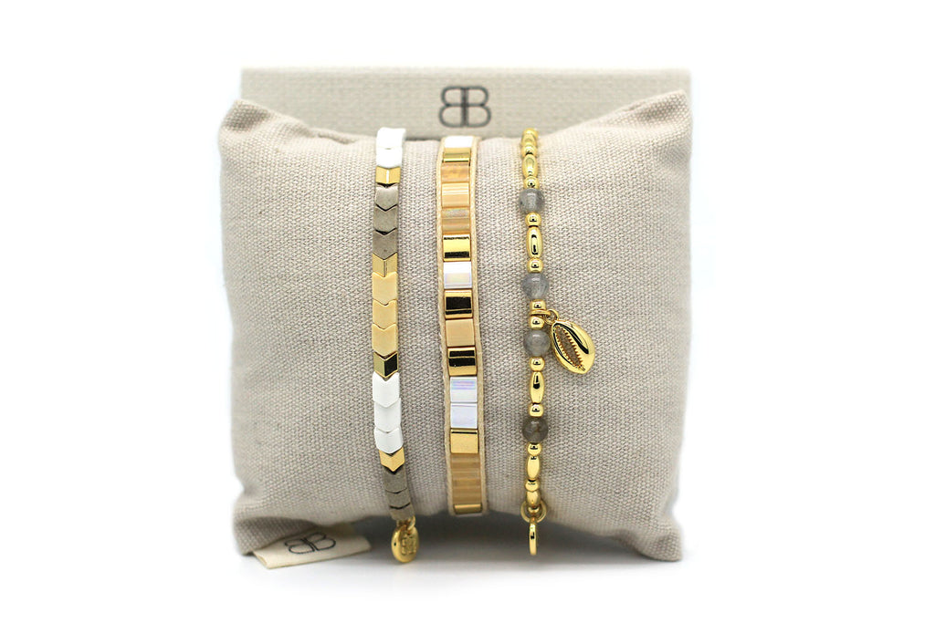 Rinkon 2 Gold 3 Layered Bracelet Stack