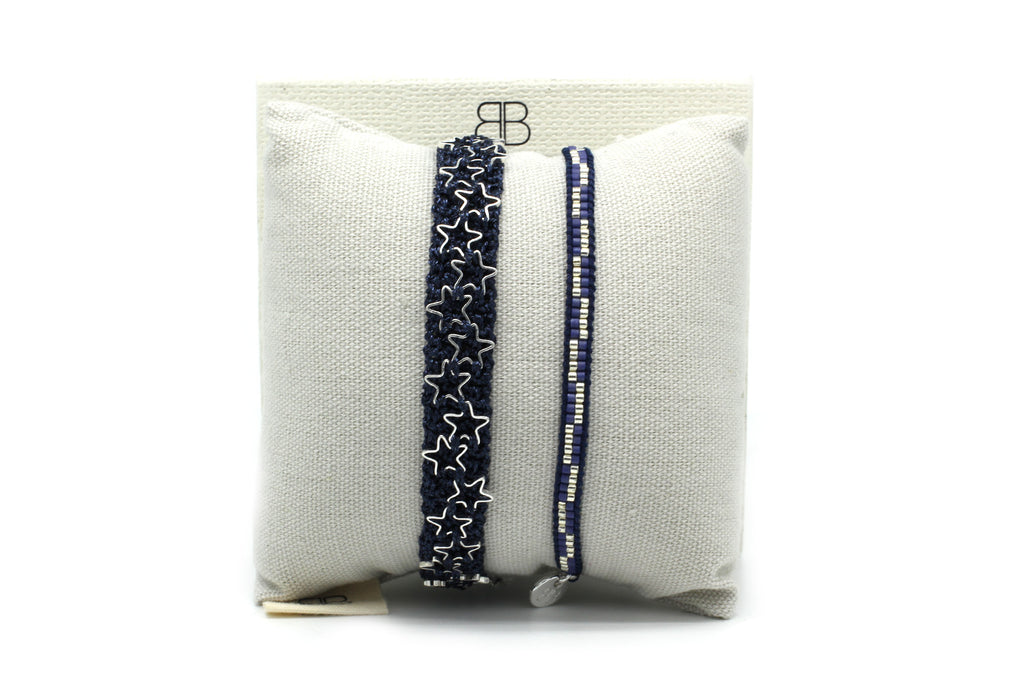Milan Navy 2 Layered Bracelet Stack - Boho Betty