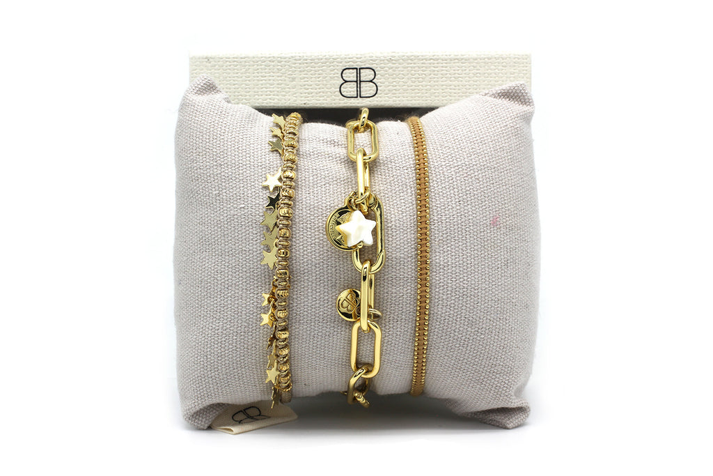 Manila Gold 3 Layered Bracelet Stack - Boho Betty