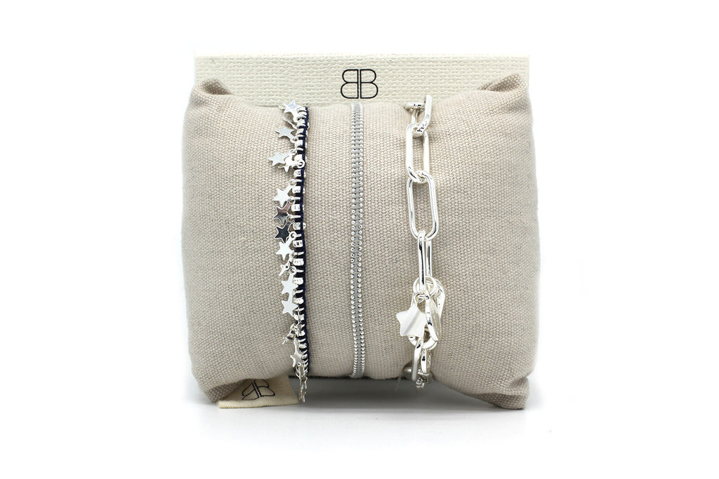 Manila Silver 3 Layered Bracelet Stack - Boho Betty