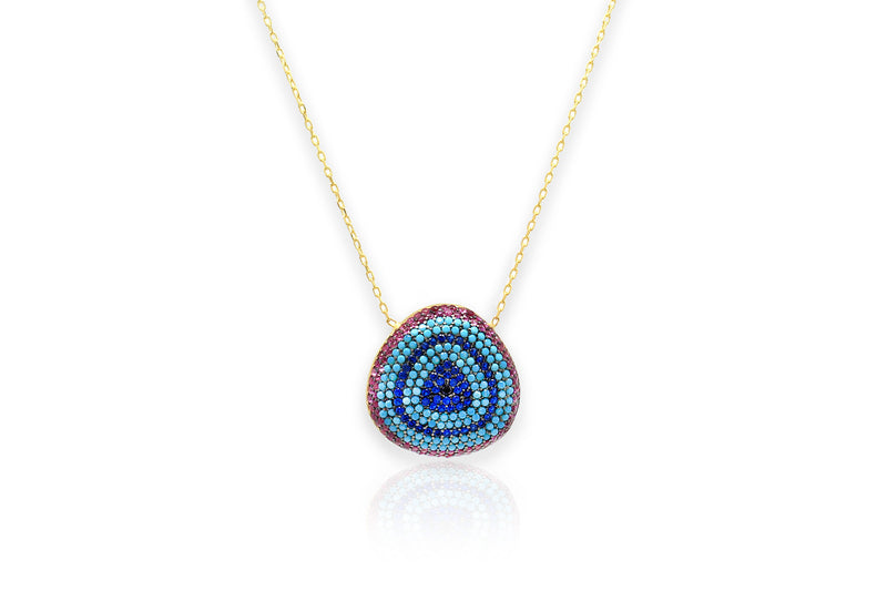 Tanqueray Gold CZ Blue Beaded Necklace