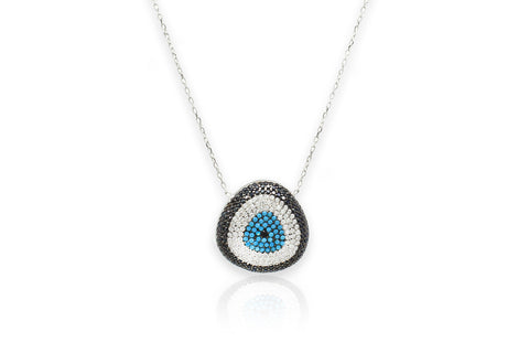 Tanqueray CZ Silver Blue Beaded Necklace