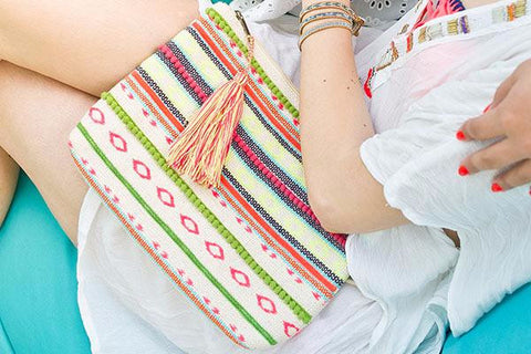 Tarida Multi Coloured Striped Clutch Bag with Tassel