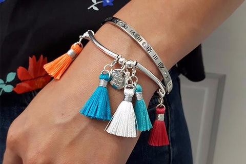 Individual Mini Tassels with Silver Lobster Claw Fastening