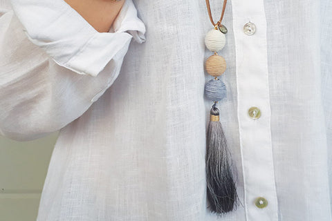Tefnut Grey Tassel Necklace