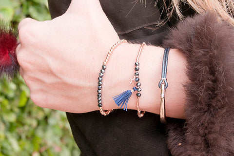 Thebe Rose Gold Tassel Stretch Bracelet with Star Charm