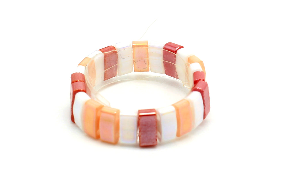 Unzen Coral Tila Bead Ring - Boho Betty