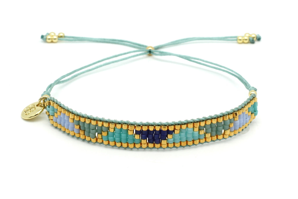 Venus Point Blue & Gold Beaded Bracelet - Boho Betty