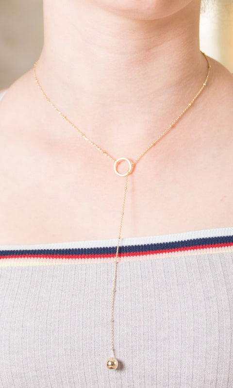 Verdot Gold on Sterling Silver Lariat Ball Necklace