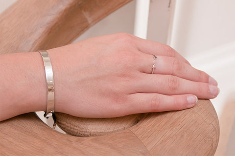Zeta Sterling Silver Bangle with Leather Pull Through