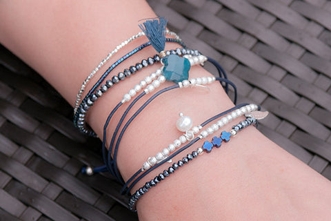 Zosma Blue Beaded Stretch Bracelet with Cross Charms