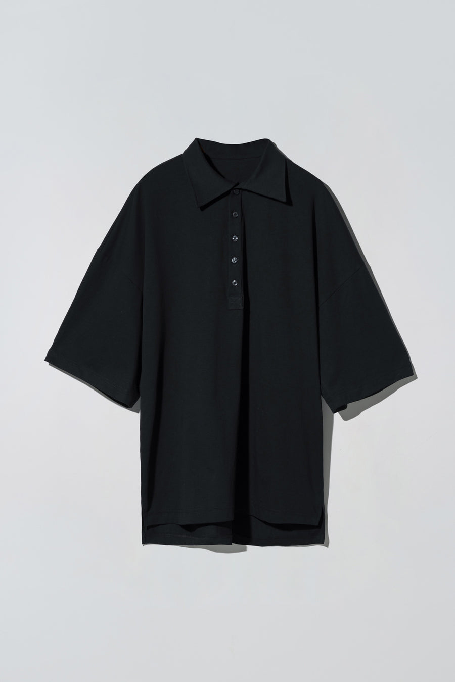 Button-fly Polo Shirt Black