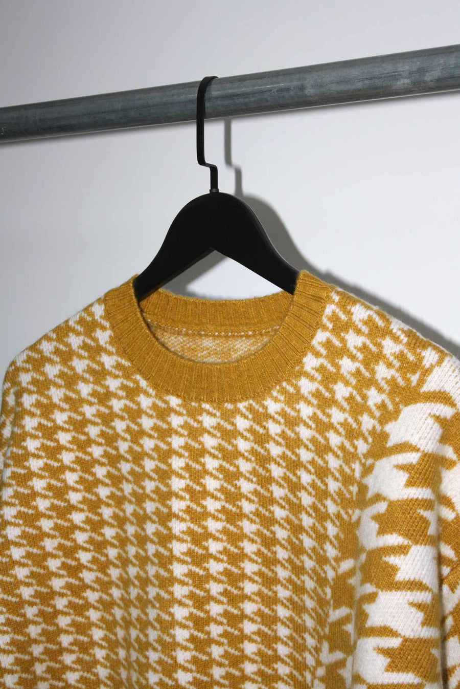 Jigsaw Sweater in Mustard Yellow and White