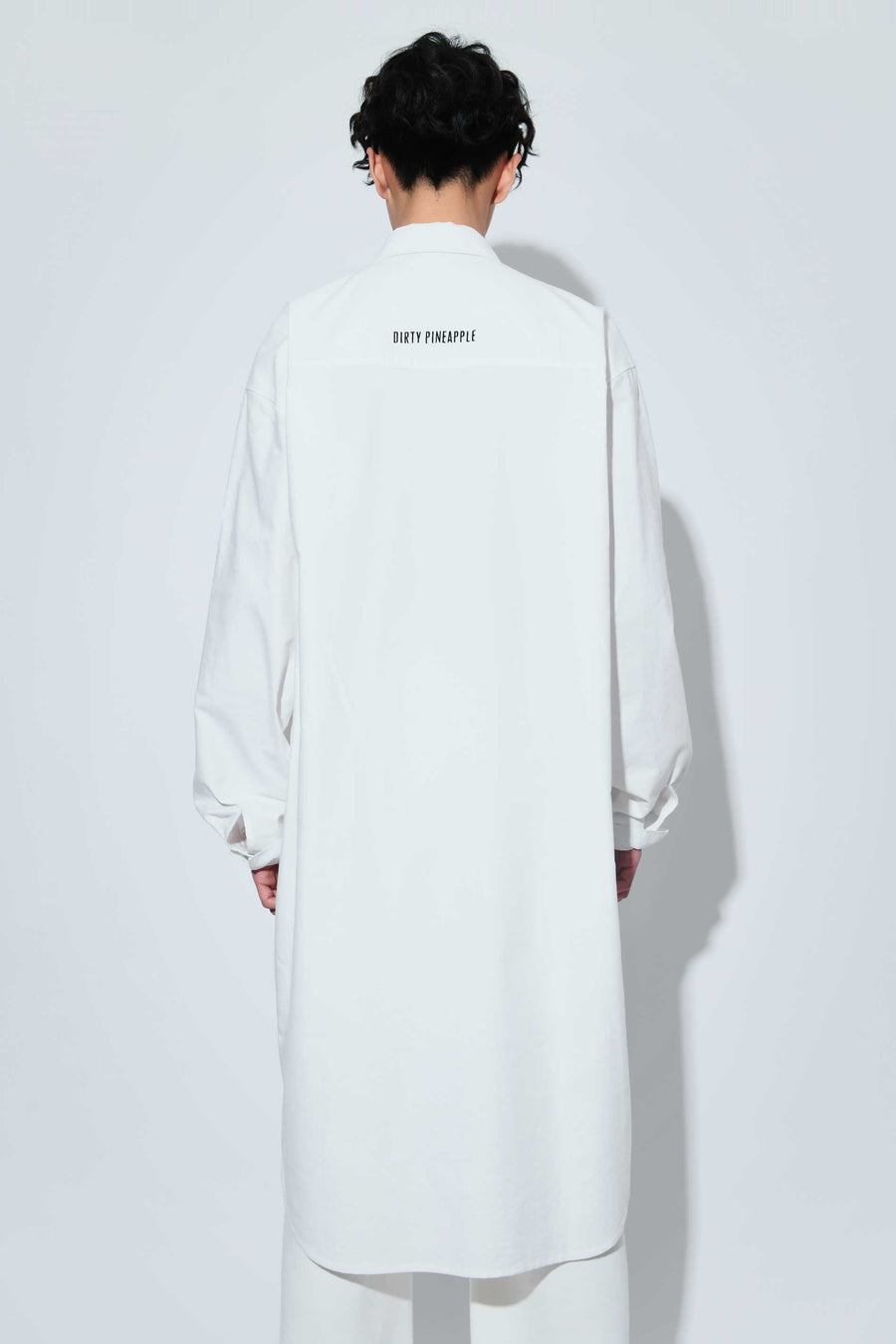Ribs Graphic Chunky Shirt Dress White