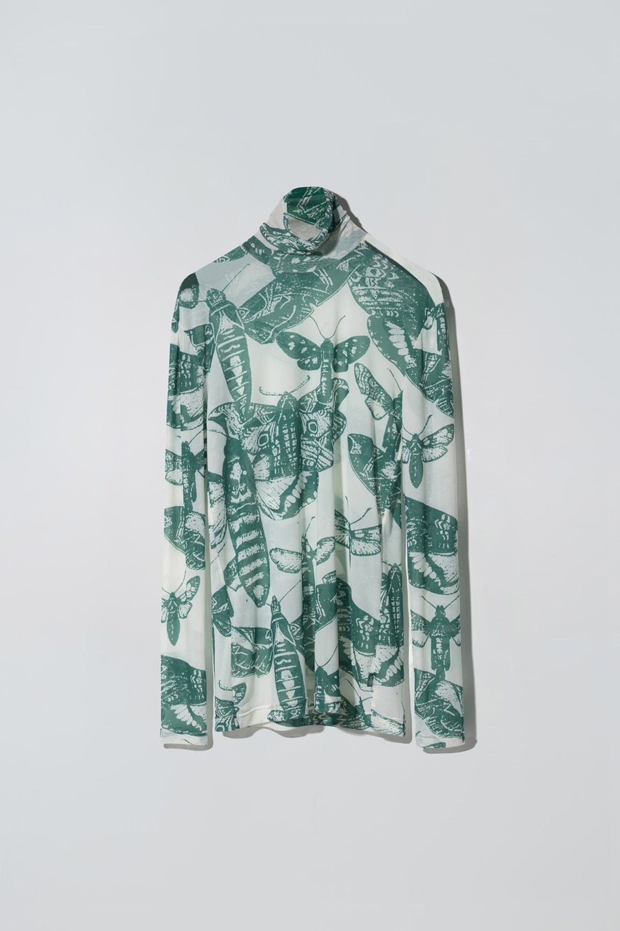 Rotten Butterflies Print Animosity Roll Neck Top Green