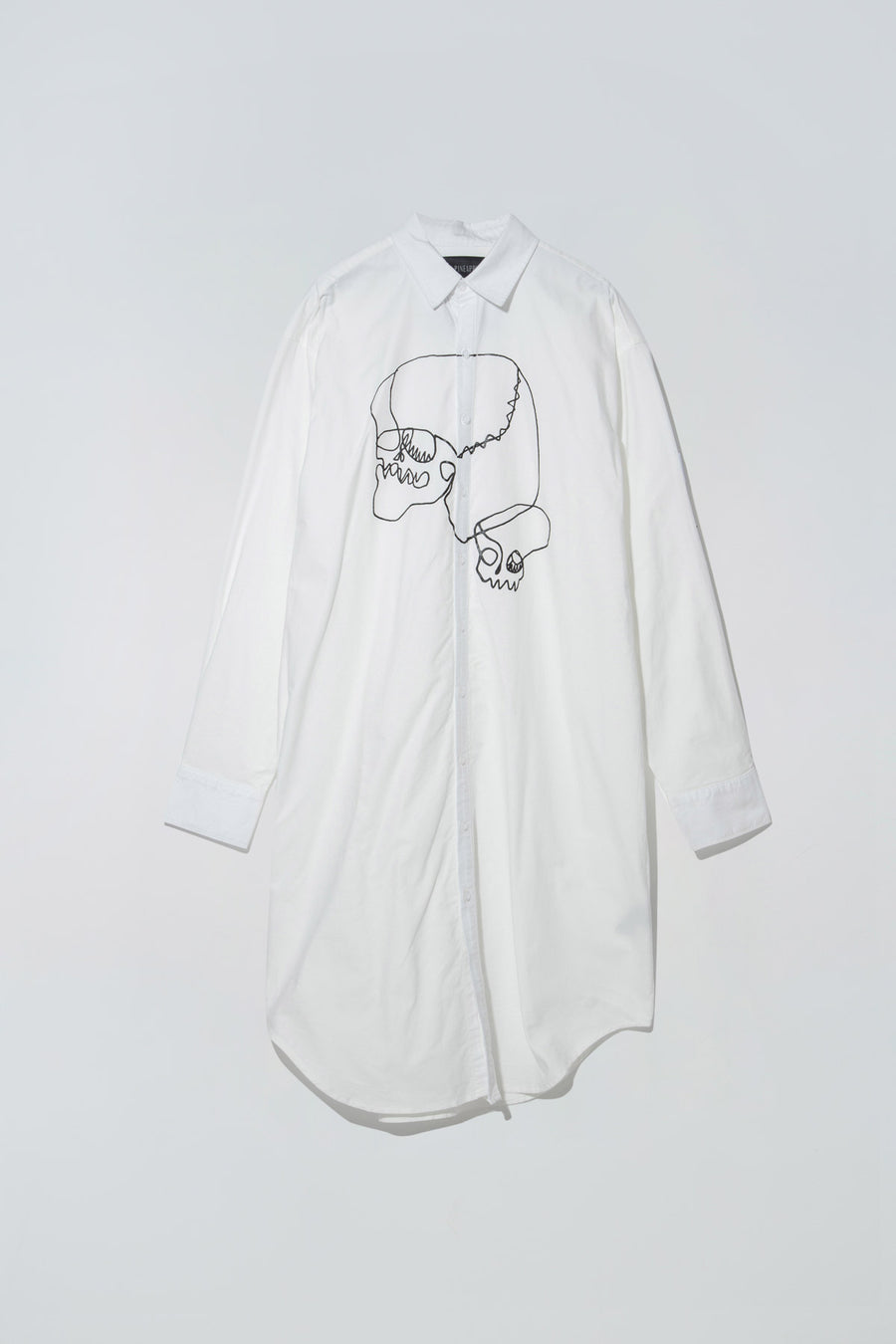 Skulls Graphic Chunky Shirt Dress White