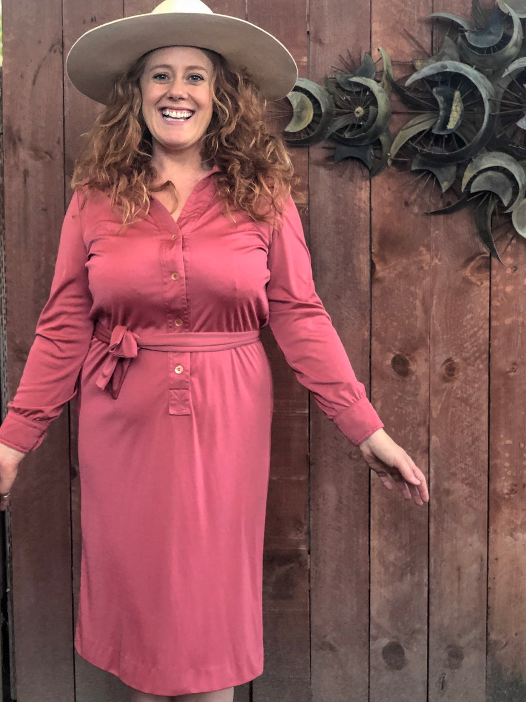 dusty pink long sleeve dress