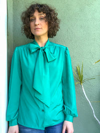 Vintage Tie Neck Blouse : Small : The Sally Top