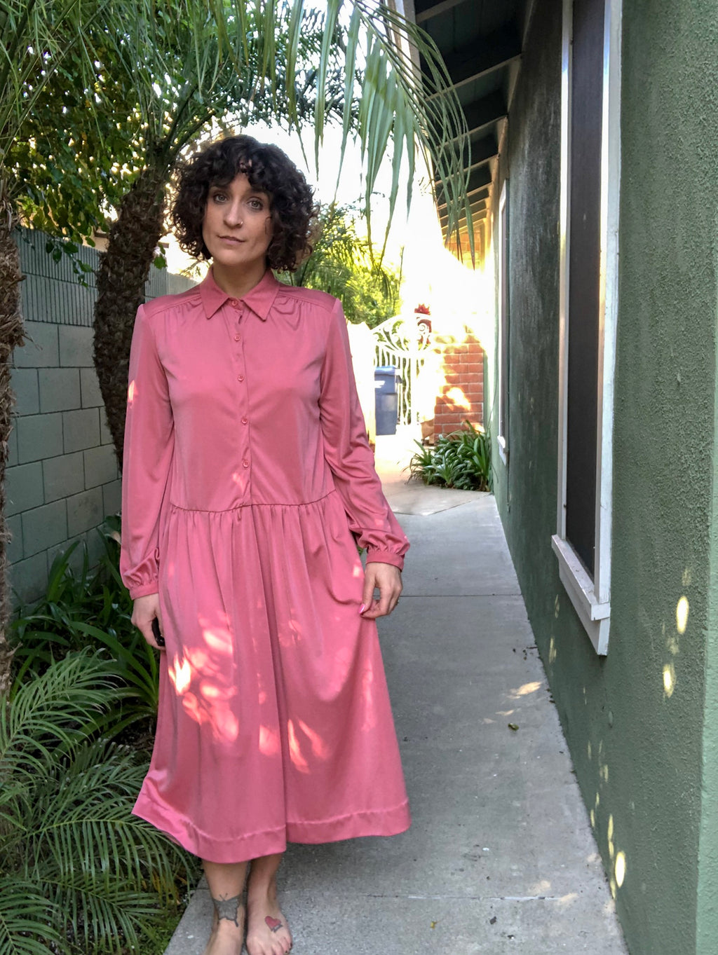 Vintage Dusty Pink Dress with Belt : Large : Wine Cooler Dress