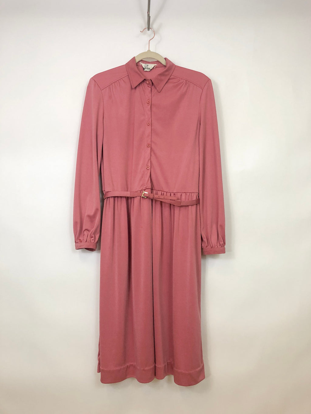 rose pink long sleeve dress