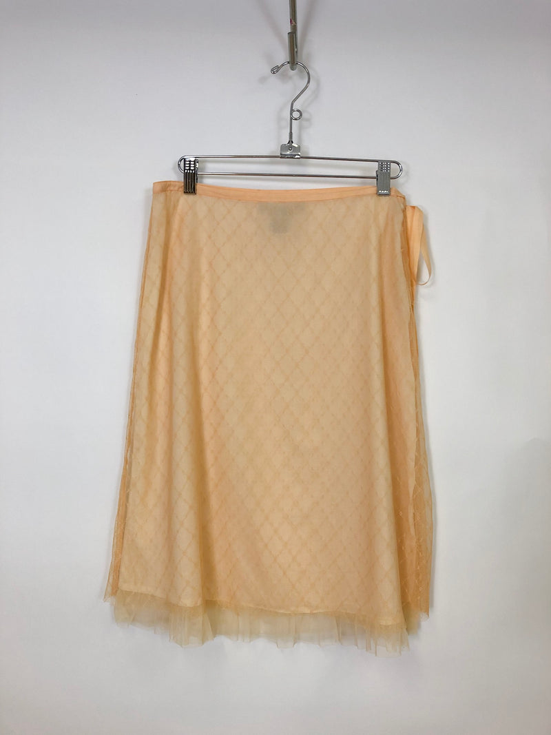 Thrifted Peach Shear Slip Skirt : Small : The Amanda Skirt