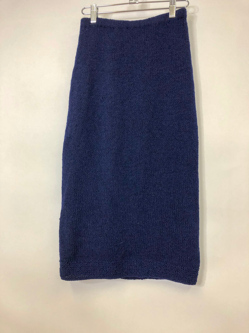 Vintage Navy Knit Pencil Skirt : XS Small : The Anli Skirt