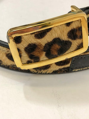 Vintage Leopard Pony Hair + Leather Belt with Gold : Small : Vicenza Belt