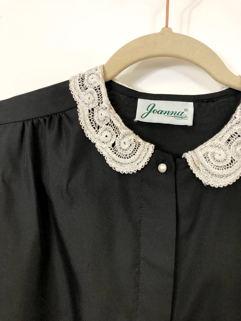 Vintage Black with Lace Collar Blouse : Medium : The Joanna Top