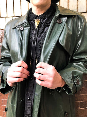 dark green leather trench
