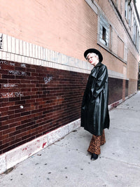 Vintage Deep Green Leather Trench Coat : Large : The Picou Coat