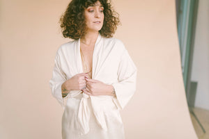 Vintage Ivory Kimono Open Blouse : Small : The Obi Top