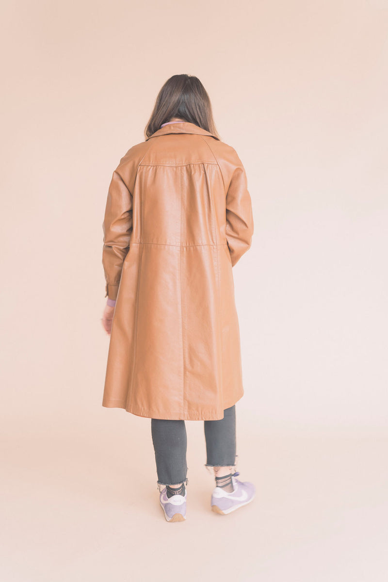 brown leather trench coat