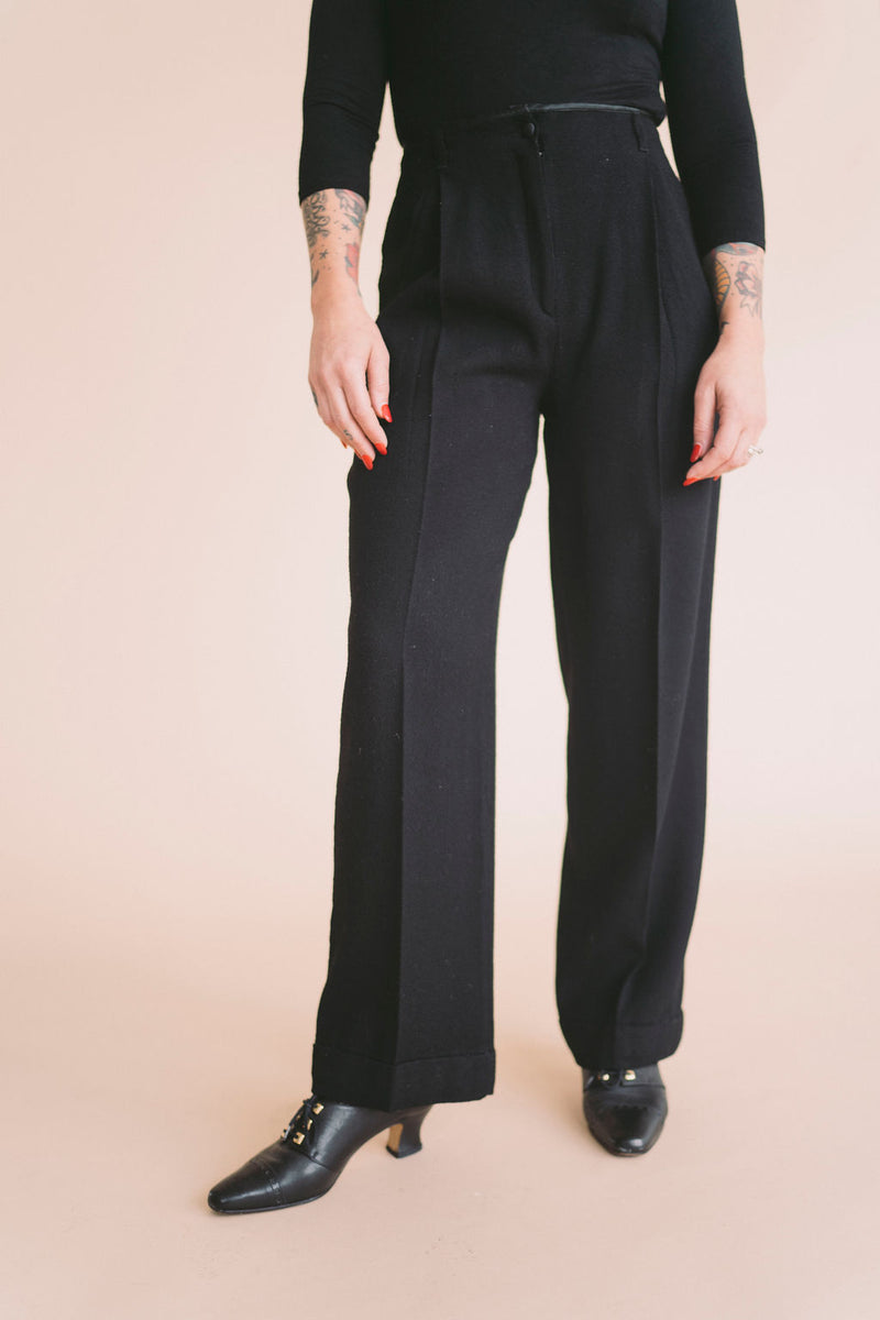 Vintage Black Trousers : XS Small Petite : The Byblas Trouser