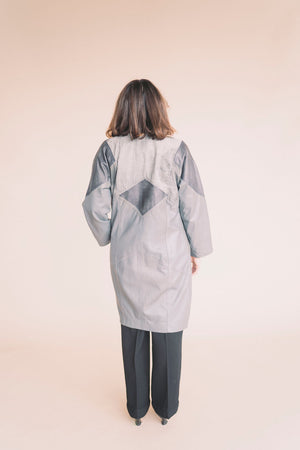 Vintage Grey Leather Coat : Small Medium : The Horoscope Leather Trench