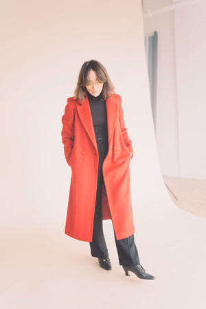 Vintage Red Wool Long Coat : Small : The Concept Coat