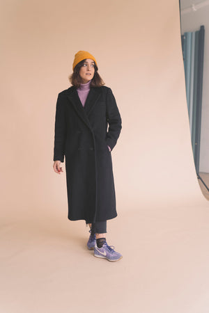 vintage black long wool coat