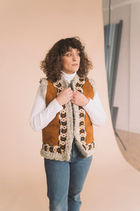 Vintage Embroidered Fur Lined Vest : Medium : The Jimi Vest