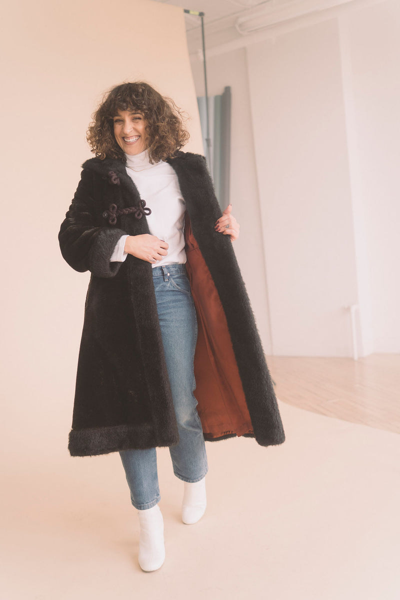knee length faux fur coat